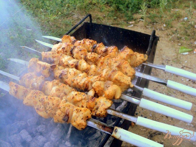Фото приготовление рецепта: Шашлык из куриного филе с прослойками сала шаг №4