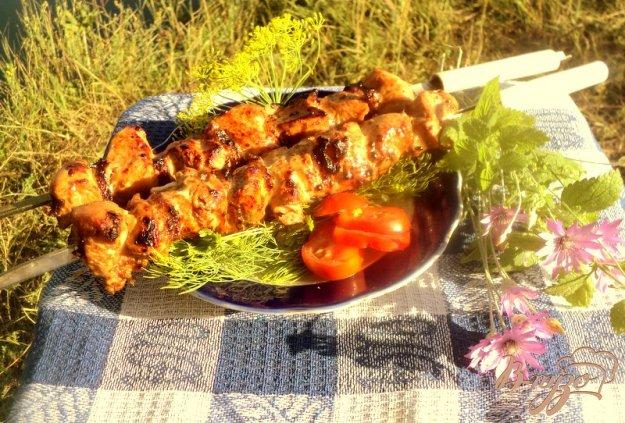 фото рецепта: Шашлык из куриного филе с прослойками сала