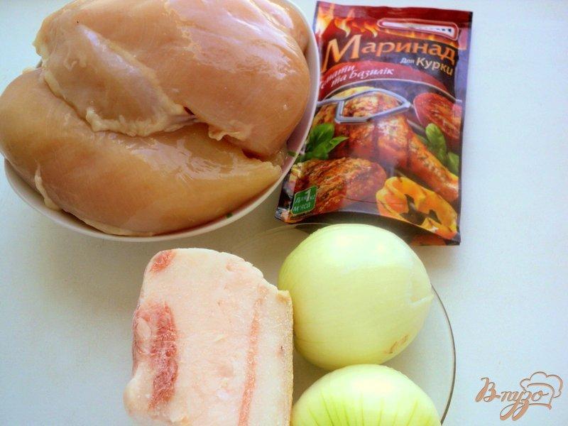 Фото приготовление рецепта: Шашлык из куриного филе с прослойками сала шаг №1