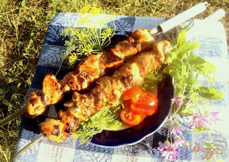 Фото приготовление рецепта: Шашлык из куриного филе с прослойками сала шаг №5
