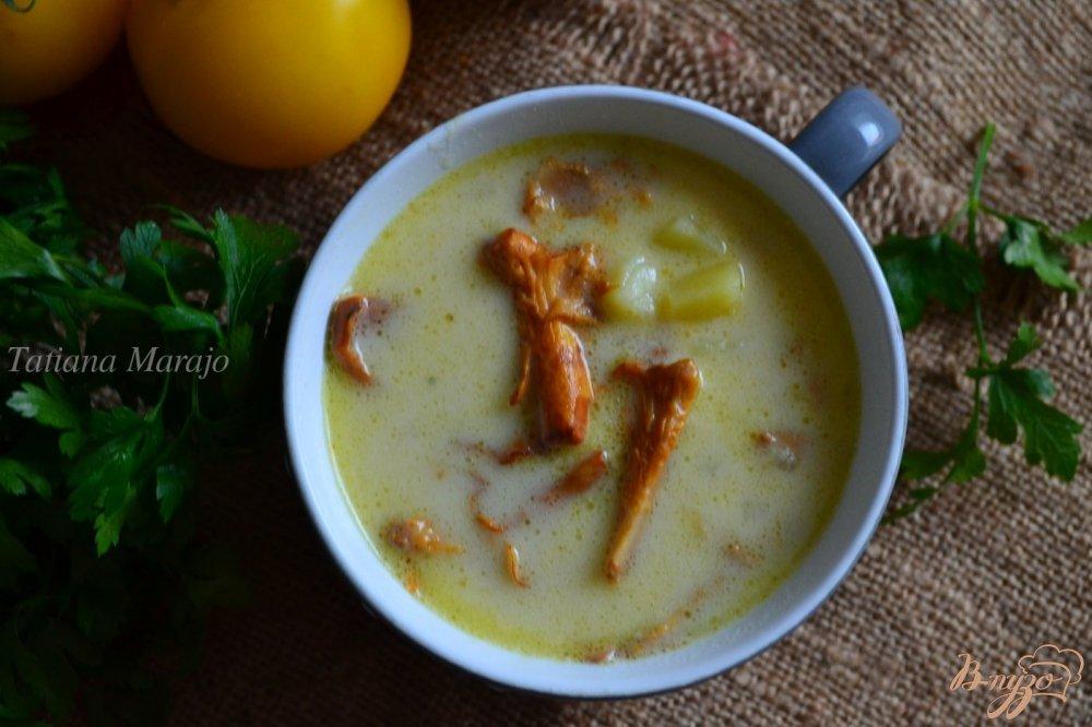 Фото приготовление рецепта: Сливочный суп с лисичками шаг №6