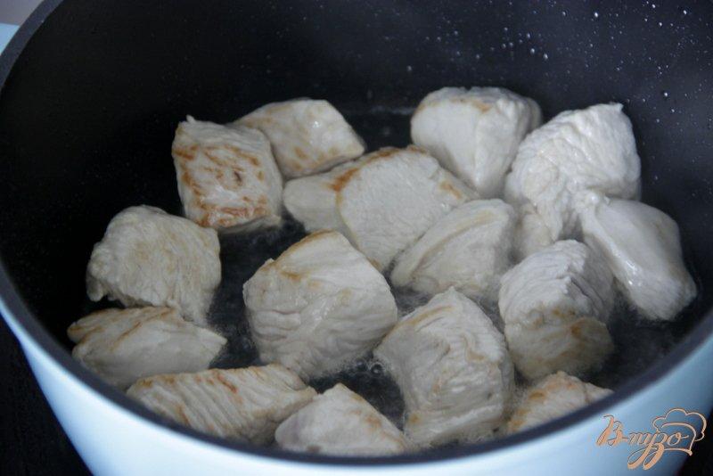 Фото приготовление рецепта: Гуляш с индейкой и фасольками шаг №1