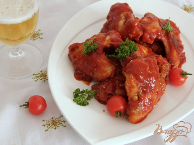 """Рецепт Куриные крылышки, запеченные, в соусе """"Баффало"""""""