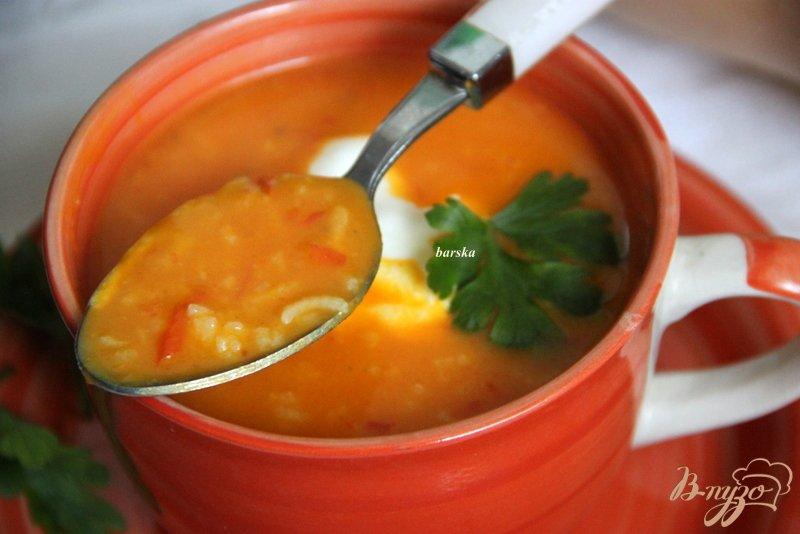 Фото приготовление рецепта: Суп-пюре с тыквой и овощами, с рисом шаг №8