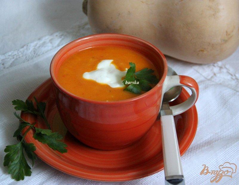 Фото приготовление рецепта: Суп-пюре с тыквой и овощами, с рисом шаг №7