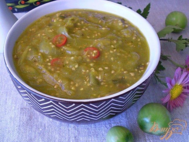 фото рецепта: Тушенные зеленые помидоры с луком