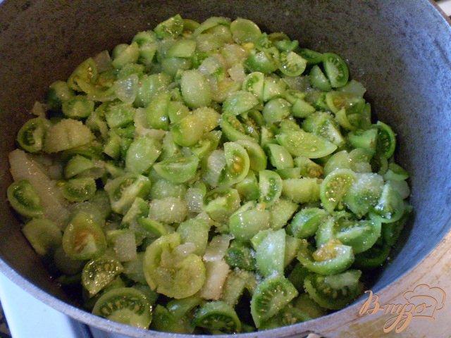 Фото приготовление рецепта: Тушенные зеленые помидоры с луком шаг №5