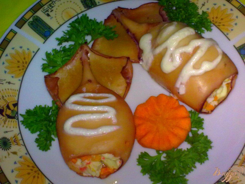 Фото приготовление рецепта: Кальмары фаршированные шаг №7