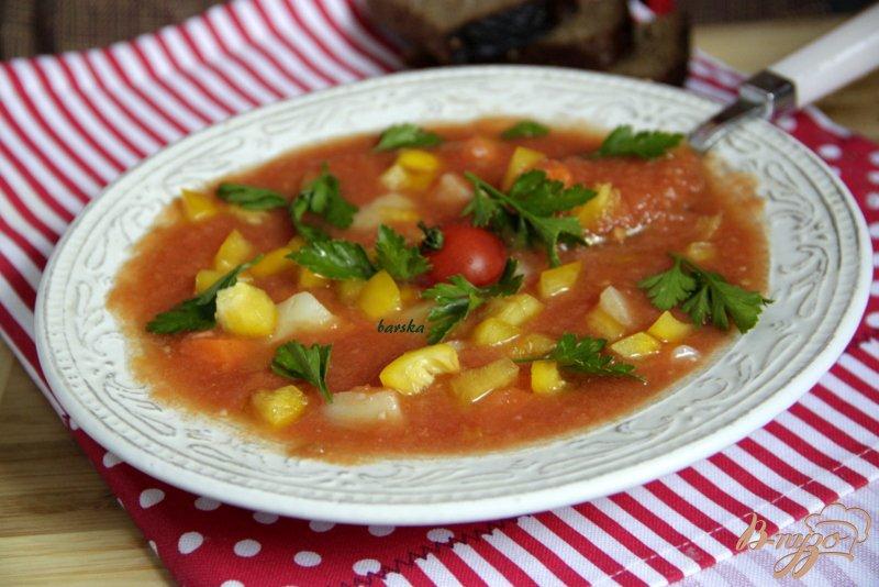 Фото приготовление рецепта: Томатный холодный суп шаг №7