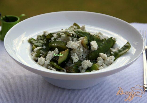 Рецепт Рис с зелёной фасолью, цуккини и фетой