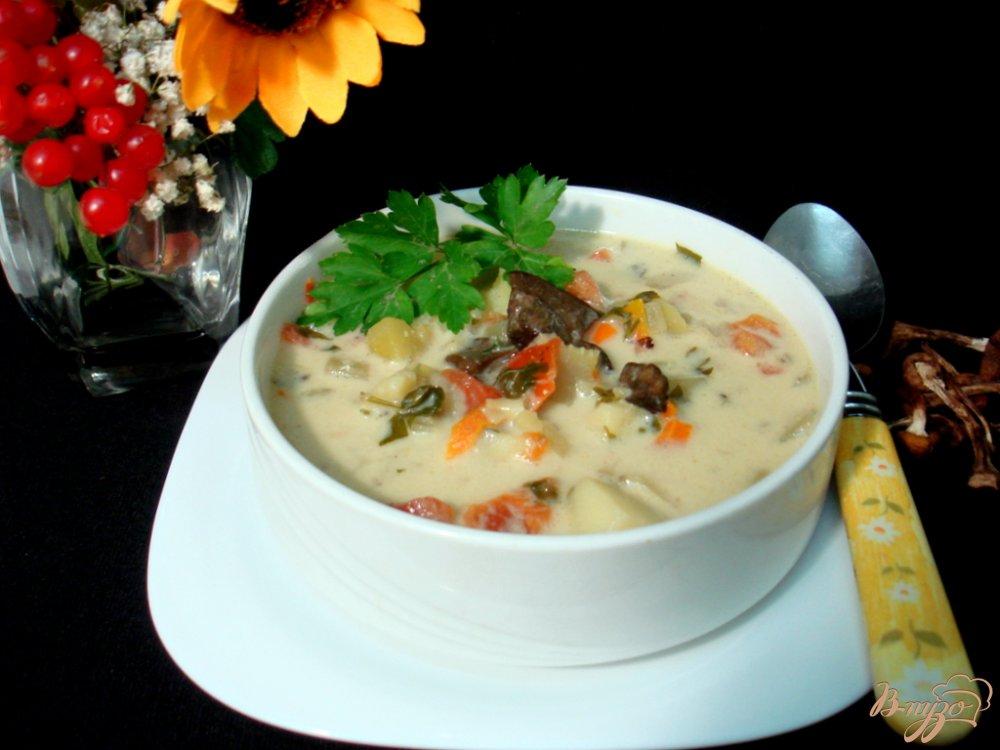 Фото приготовление рецепта: Грибной суп с сырочками шаг №6