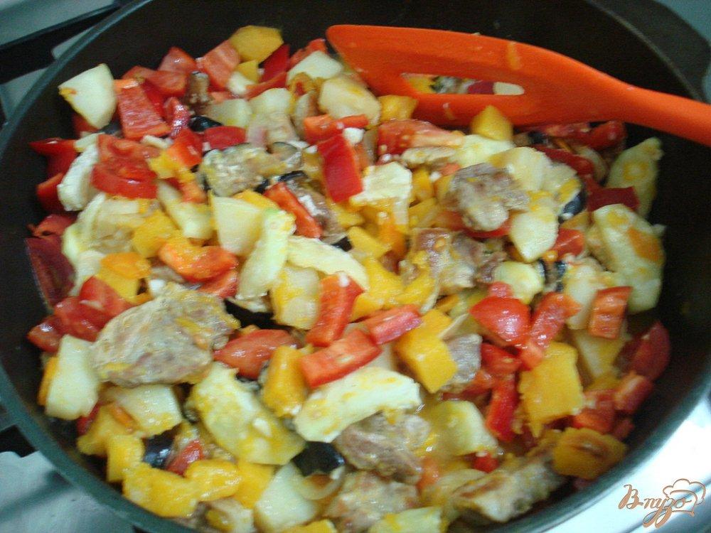 Фото приготовление рецепта: Рагу со свининой и тыквой шаг №10