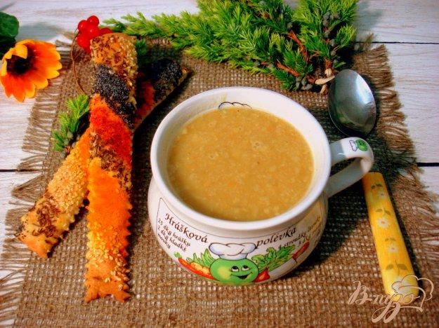 фото рецепта: Гороховый суп пюре с копчёной колбасой