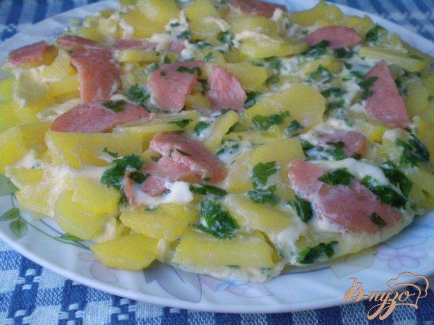 Рецепт Картофель с колбасой и яйцами в мультиварке