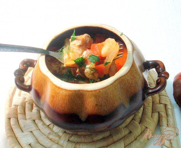 Рецепт Чанахи в горщочках, с фасолью и баклажанами