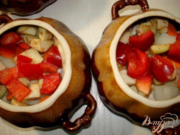 Чанахи в горщочках, с фасолью и баклажанами