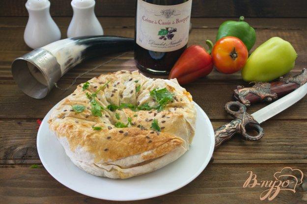 фото рецепта: Запеченный лаваш с горошком