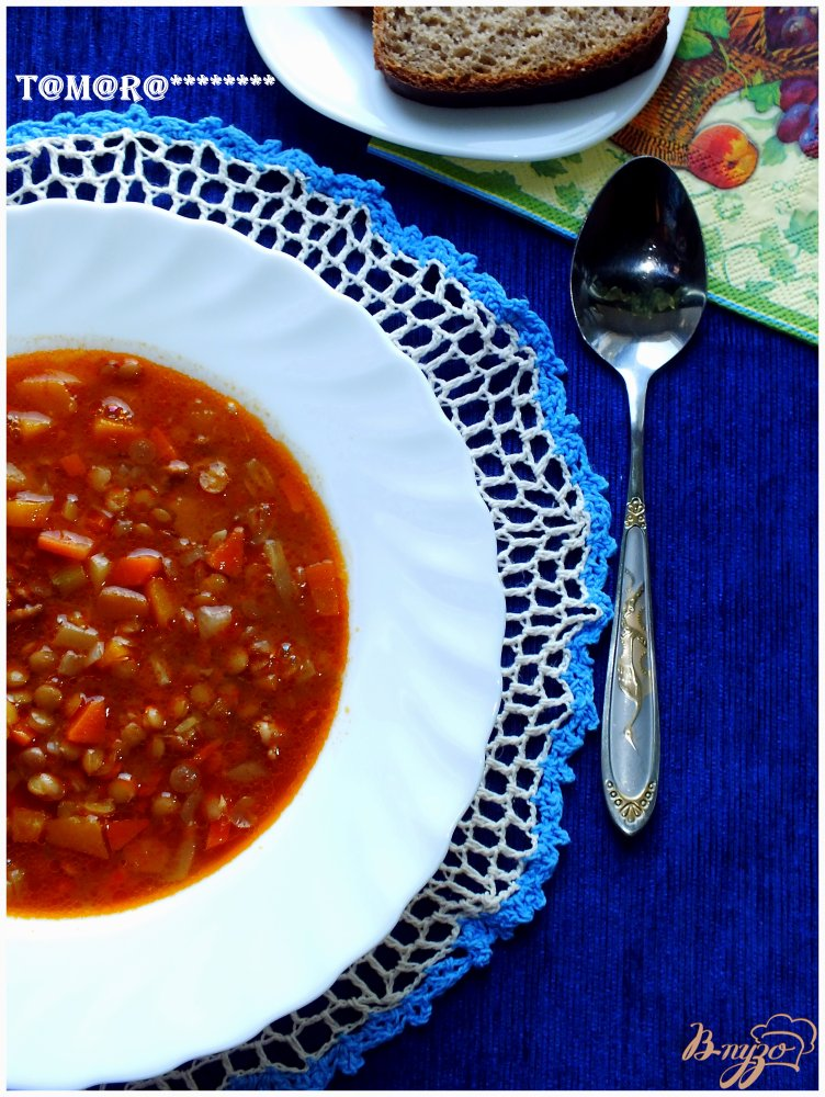 Фото приготовление рецепта: Чечевичная похлебка с тыквой из мультиварки шаг №12