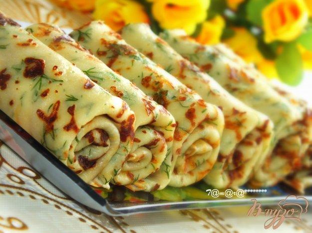 фото рецепта: Сырные блины с зеленью