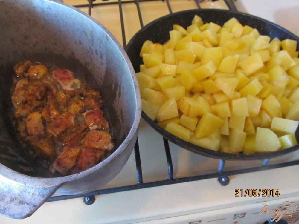 Фото приготовление рецепта: Овощное рагу с мясом летнее шаг №5