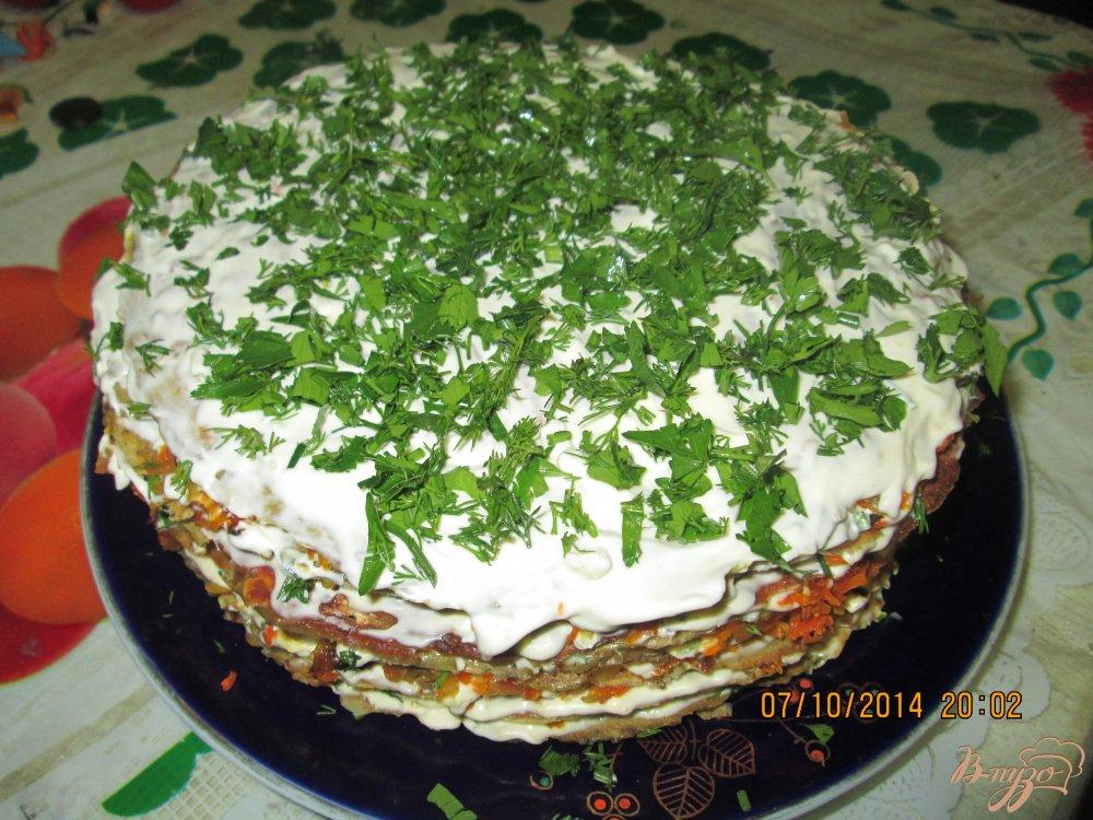 Фото приготовление рецепта: Печеночный торт шаг №6