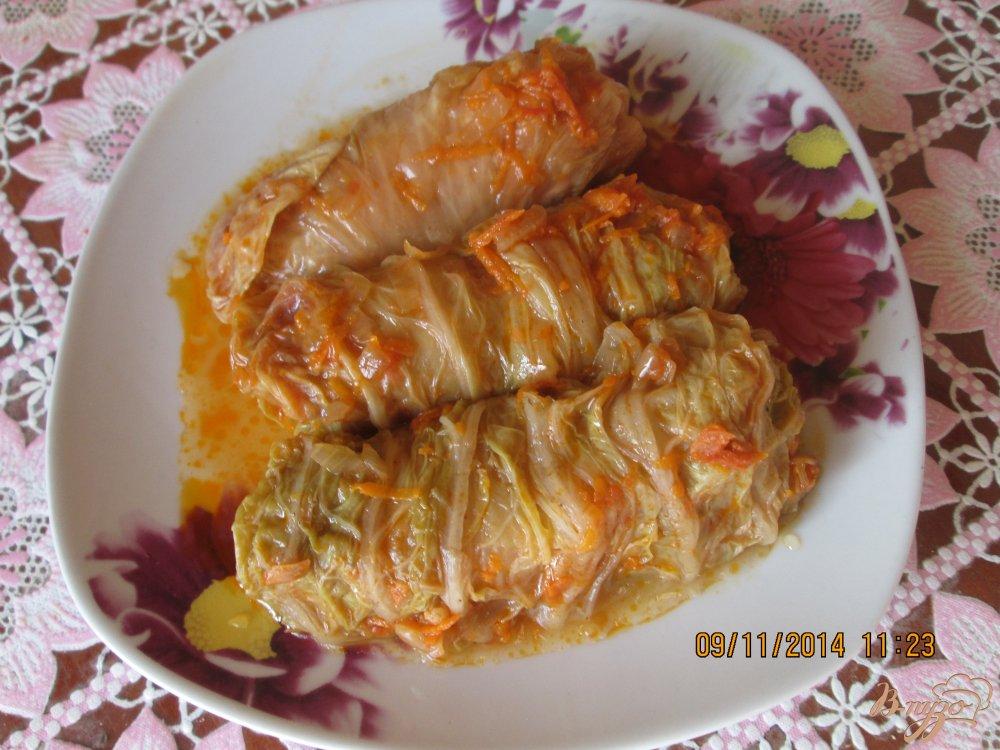 Фото приготовление рецепта: Голубцы из пекинской капусты шаг №6