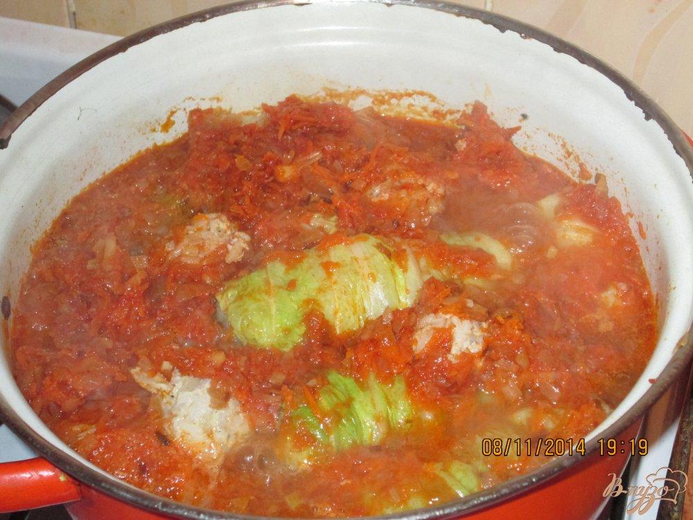 Фото приготовление рецепта: Голубцы из пекинской капусты шаг №5