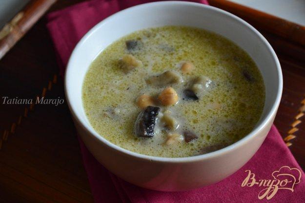 Рецепт Сливочный суп с баклажанами, грибами и нутом