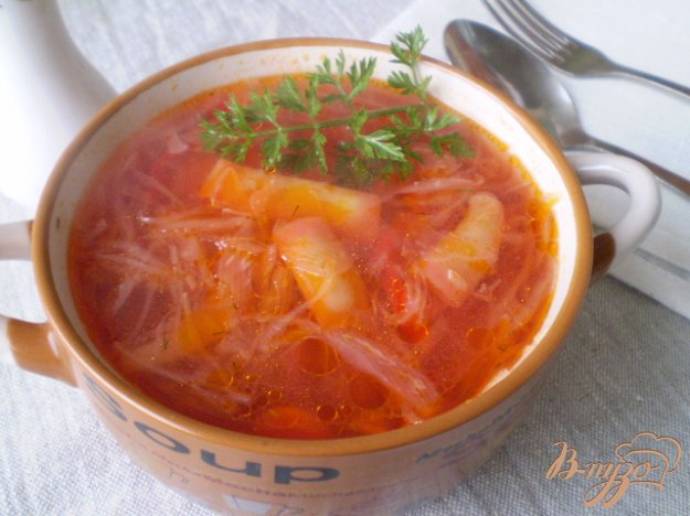 Рецепт Постный борщ со спаржевой фасолью