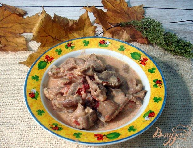 фото рецепта: Куриные желудочки в томатно - сметанном соусе