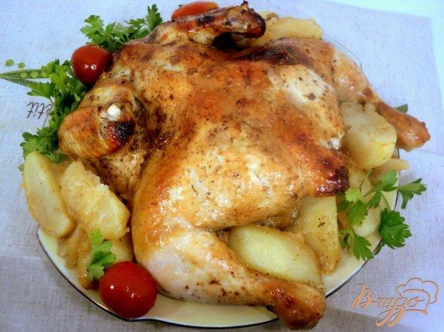 фото рецепта: Курица, запеченная с соусом ткемали