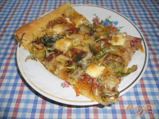 """Рецепт """"Пицца"""" на слоеном тесте, с колбасой и овощами"""