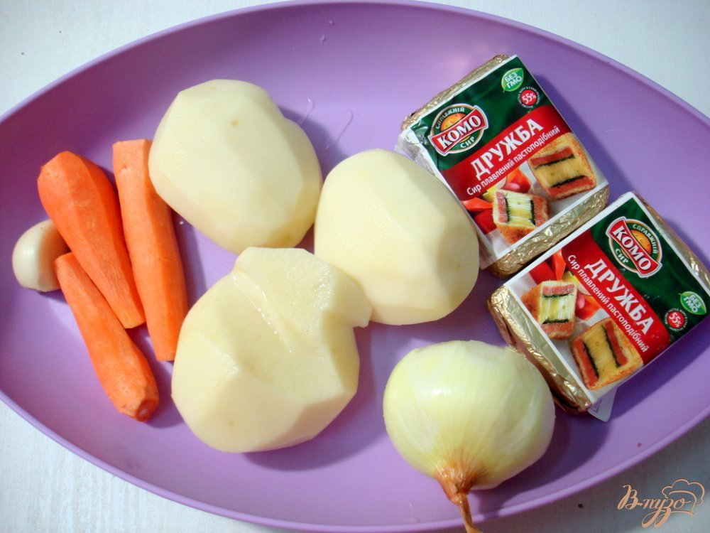 Фото приготовление рецепта: Суп с шампиньонами и сырочками шаг №1