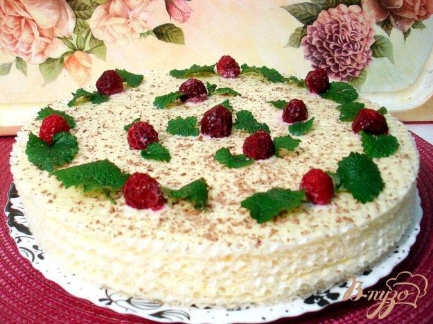 Рецепт Вафельный тортик с малиной