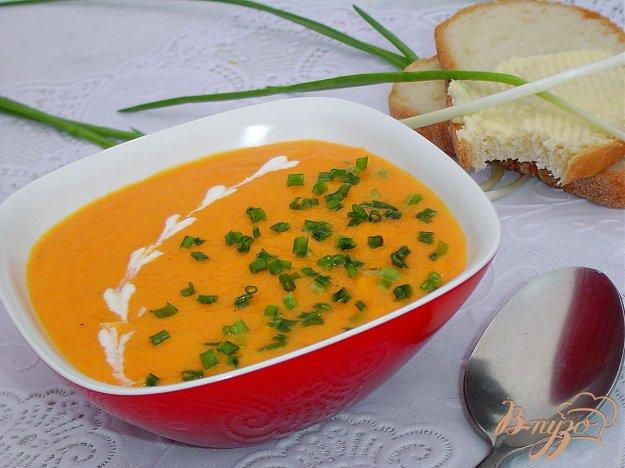 фото рецепта: Морковный суп-пюре с зеленым луком (Сrema di carote all erba cipollina)