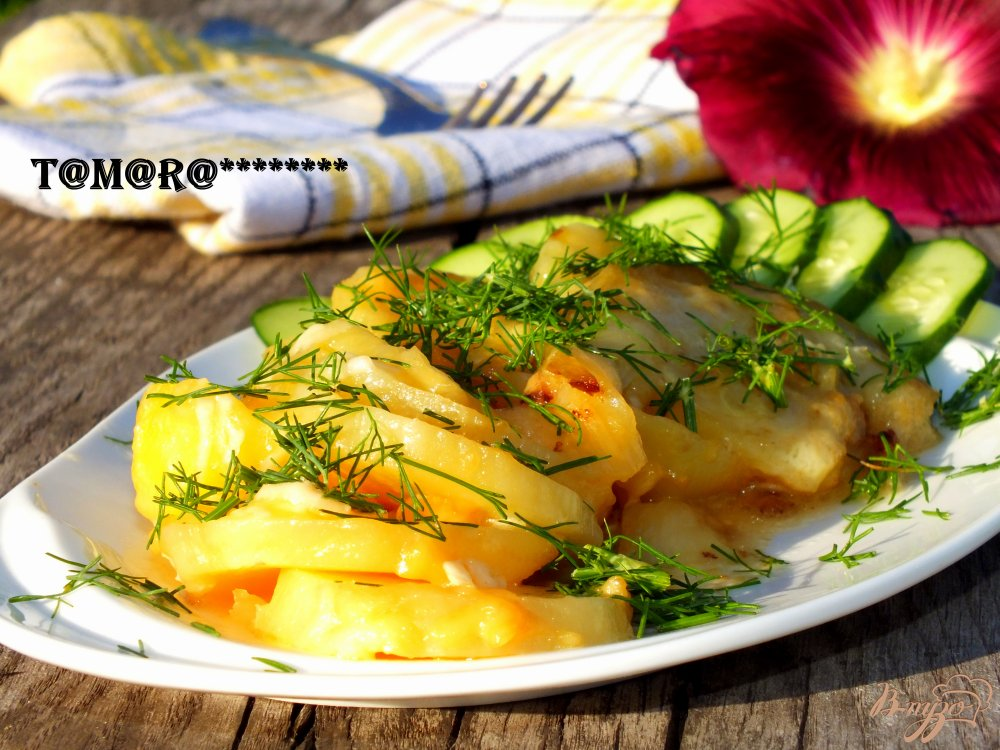 Фото приготовление рецепта: Запеченный картофель с кабачком шаг №5