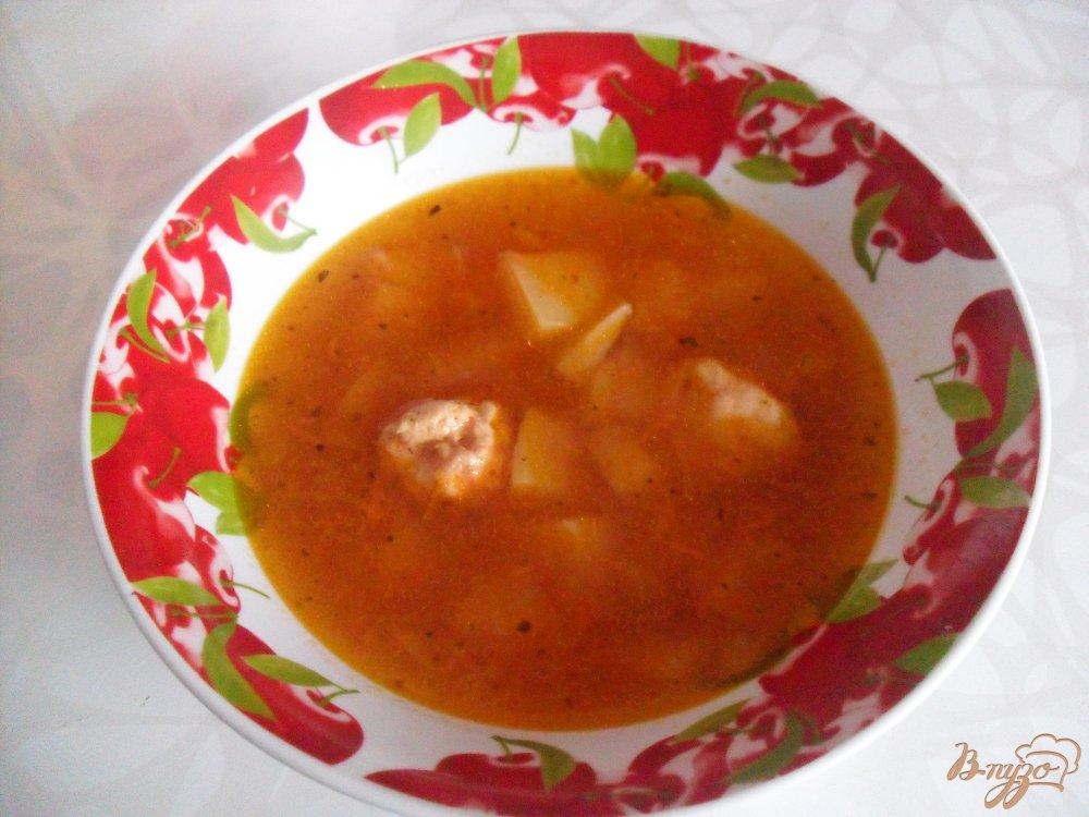 Фото приготовление рецепта: Томатный суп с фрикадельками шаг №9