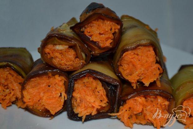 Рулеты из баклажан с корейской морковью