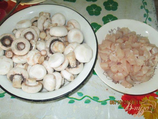 Блинчики  с грибами и курицей