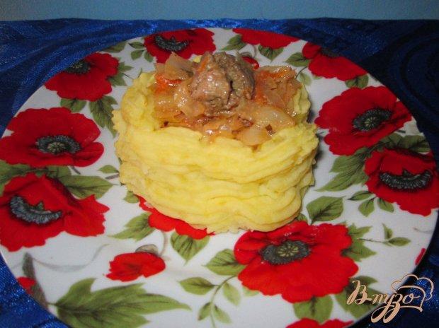 Тушеная капуста с куриной печенью