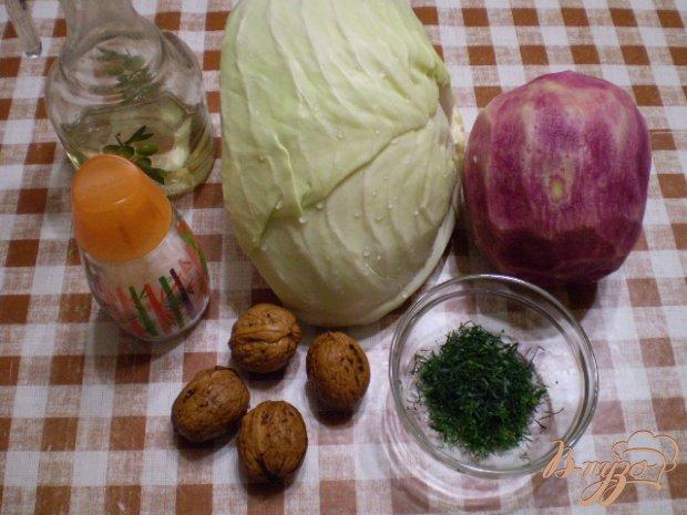 Салат из капусты, редьки и грецких орехов