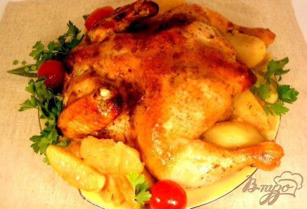 Курица, запеченная с соусом ткемали