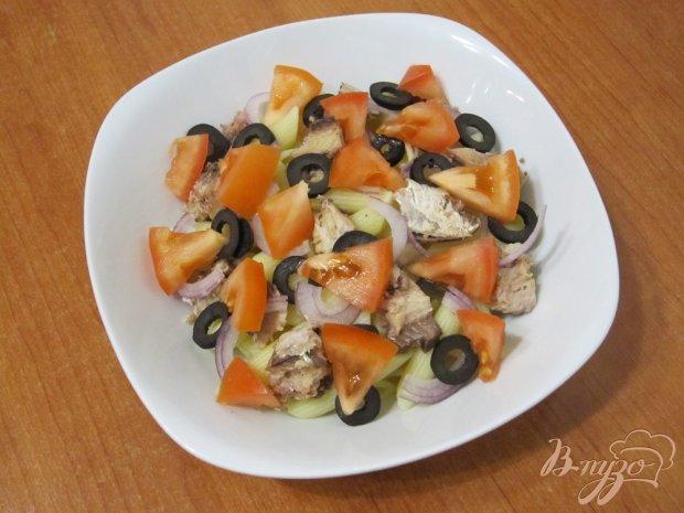 Салат из макарон с сардинами