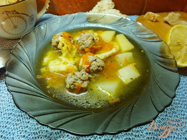 фото рецепта: Суп с клецками и фрикадельками