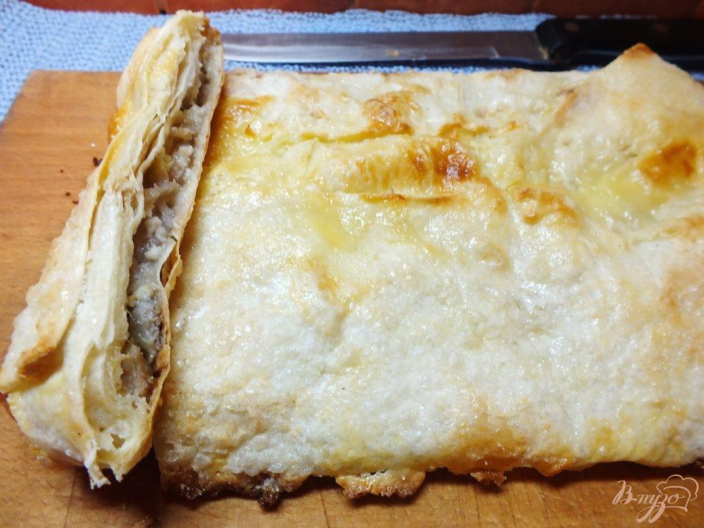 Фото приготовление рецепта: Пирог из лаваша с бананом шаг №7