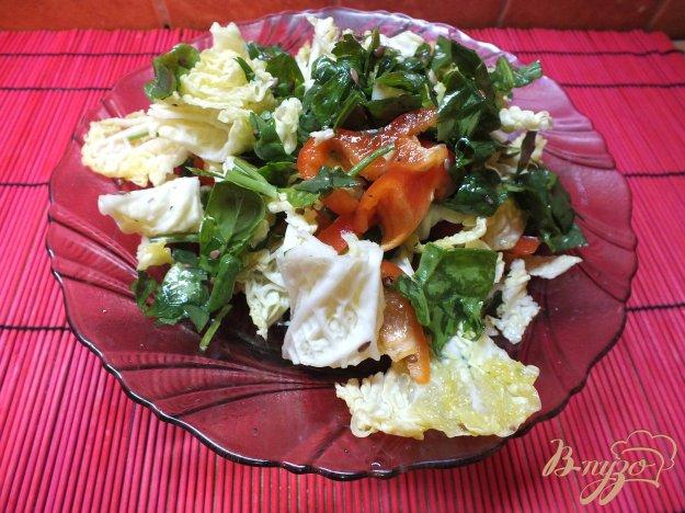 Рецепт Салат из болгарского перца и листовой зелени с кунжутный маслом