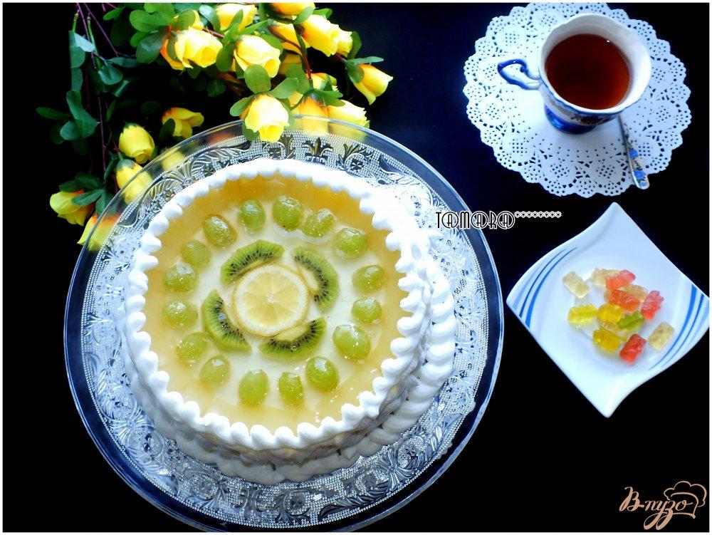 Фото приготовление рецепта: Торт творожный с фруктами шаг №8