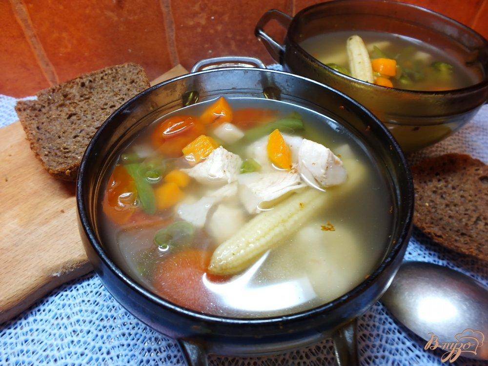 Фото приготовление рецепта: Суп с початками кукурузы и черри шаг №7