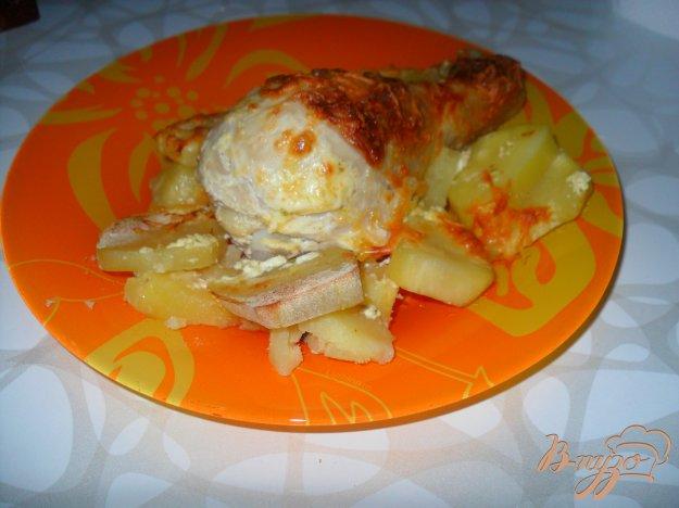 Рецепт Куриные голени в сметане с картошкой
