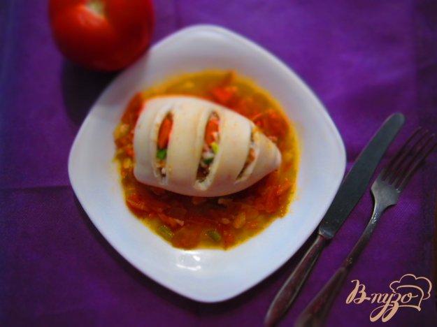 Рецепт Кальмар фаршированный рисом и овощами